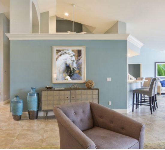fine art o blue wall in living room