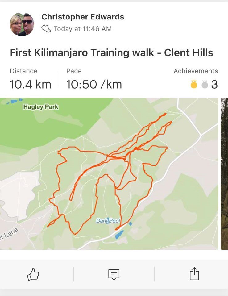 Chris' first kili walk route